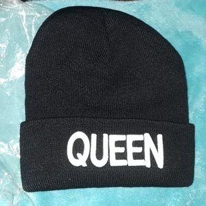 Queen black beanie hat/  New